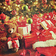 Gifts Under The Tree For Christmas Poster by Sandra Cunningham
