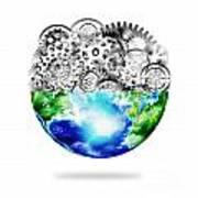 Globe With Cogs And Gears Poster by Setsiri Silapasuwanchai