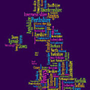 Great Britain Uk County Text Map Poster by Michael Tompsett