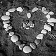 Heart Symbol Made Out Of Pebbles On The Beach At Aphrodites Rock Petra Tou Romiou Cyprus Poster by Joe Fox