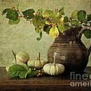 Old Pitcher With Gourds Poster by Sandra Cunningham