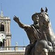 Statue Of Marcus Aurelius On Capitoline Hill Rome Lazio Italy Poster by Bernard Jaubert