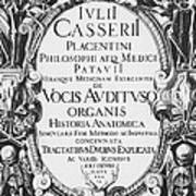 Title Page, Giulio Casserios Anatomy Poster by Science Source