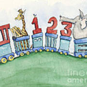 123 Animal Train Poster by Annie Laurie