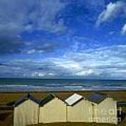 Beach Huts Under A Stormy Sky In Normandy Poster by Bernard Jaubert