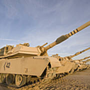 M1 Abrams Tanks At Camp Warhorse Poster by Terry Moore