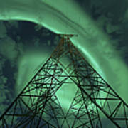 Powerlines And Aurora Borealis Poster by Arild Heitmann