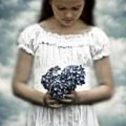 Girl With Hydrangea Poster by Joana Kruse