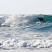 Surfers At Porthtowan Cornwall Poster by Brian Roscorla