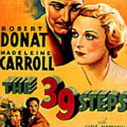 39 Steps, The, Robert Donat, Madeleine Poster by Everett