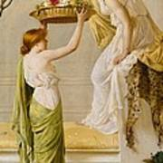 A Basket Of Roses - Grecian Girls Poster by Henry Thomas Schaefer