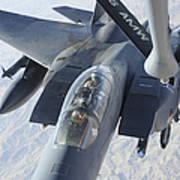 A Kc-135 Stratotanker Refuels An F-15e Poster by Stocktrek Images