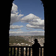 A Man Looks Out Of Ajloun Castle Poster by Taylor S. Kennedy