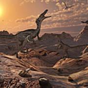 A Pack Of Carnivorous Velociraptors Poster by Mark Stevenson