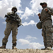 A U.s. Army Soldier Communicates Poster by Stocktrek Images
