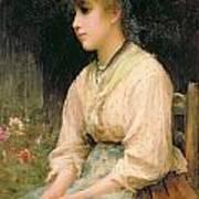 A Venetian Flower Girl Poster by Sir Samuel Luke Fildes