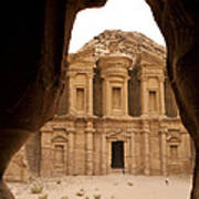A View Of The Monastary In Petra Poster by Taylor S. Kennedy