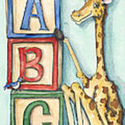 Abc Blocks - Giraffe Poster by Annie Laurie