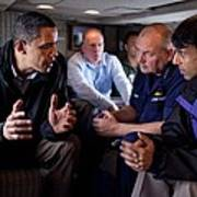 Aboard Marine One President Obama Meets Poster by Everett