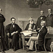Abraham Lincoln At The First Reading Of The Emancipation Proclamation - July 22 1862 Poster by International  Images