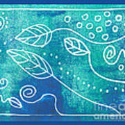 Abstract Block Print In Blue Poster by Ann Powell