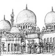 Abu Dhabi Masjid In Ink  Poster by Adendorff Design