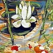 Admiring A Lotus Poster by Robert Wolverton Jr