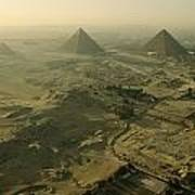Aerial View Of The Pyramids Of Giza Poster by Kenneth Garrett