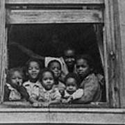 African American Woman And Six Children Poster by Everett