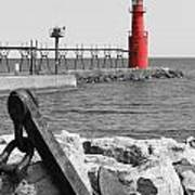 Algoma Lighthouse Is Anchored Poster by Mark J Seefeldt