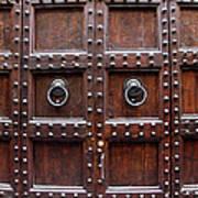 Antique Wood Door In Florence Poster by Giuseppe Ceschi