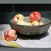 Apples In An Aerni Bowl Poster by Patricia Overmoyer