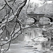 Arch Bridge Over Frozen River In Winter Poster by Enzo Figueres