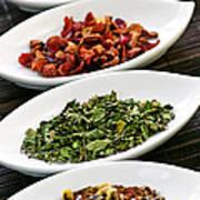 Assorted Herbal Wellness Dry Tea In Bowls Poster by Elena Elisseeva