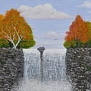 Autumn Waterfall Poster by Georgeta  Blanaru