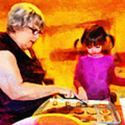 Baking Cookies With Grandma Poster by Nikki Marie Smith