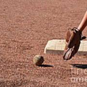baseball and Glove Poster by Randy J Heath