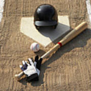 Baseball, Bat, Batting Gloves And Baseball Helmet At Home Plate Poster by Thomas Northcut