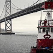 Bay Bridge And Fireboat In The Rain Poster by Jarrod Erbe