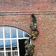 Belgian Paratroopers Rappelling Poster by Luc De Jaeger