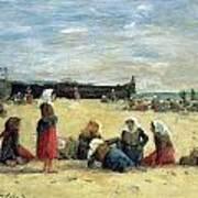 Berck - Fisherwomen On The Beach Poster by Eugene Louis Boudin