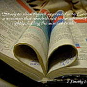Bible Heart Scripture Art 2 Timothy 2 Poster by Cindy Wright