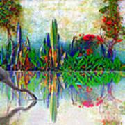 Blue Heron In My Mexican Garden Poster by John  Kolenberg