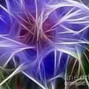 Blue Hibiscus Fractal Panel 5 Poster by Peter Piatt