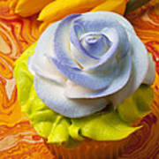 Blue Rose Cup Cake Poster by Garry Gay