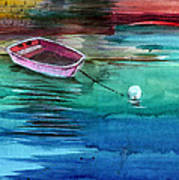 Boat And The Buoy Poster by Anil Nene