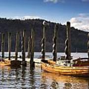 Boats Docked On A Pier, Keswick Poster by John Short