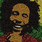 Bob Marley Bottle Cap Mosaic Poster by Paul Van Scott