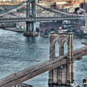 Brooklyn And Manhattan Bridge Poster by Tony Shi Photography