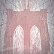 Brooklyn Bridge Red Poster by Naxart Studio